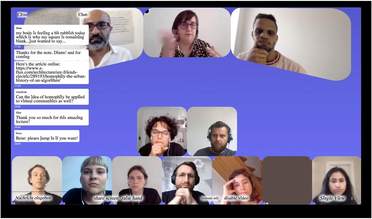Screenshot: Eine Gesprächsrunde auf Jitsi