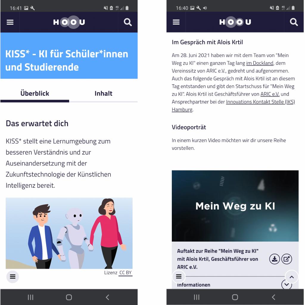Screenshots der Lernangebote auf hoou.de.