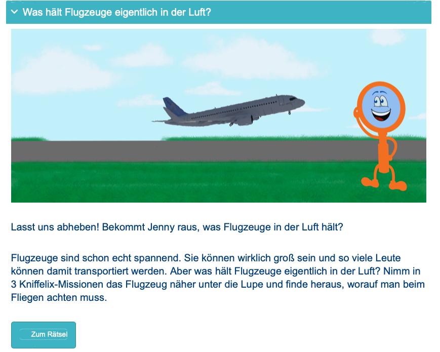 Teaser Kniffelix Flugzeug Rätsel