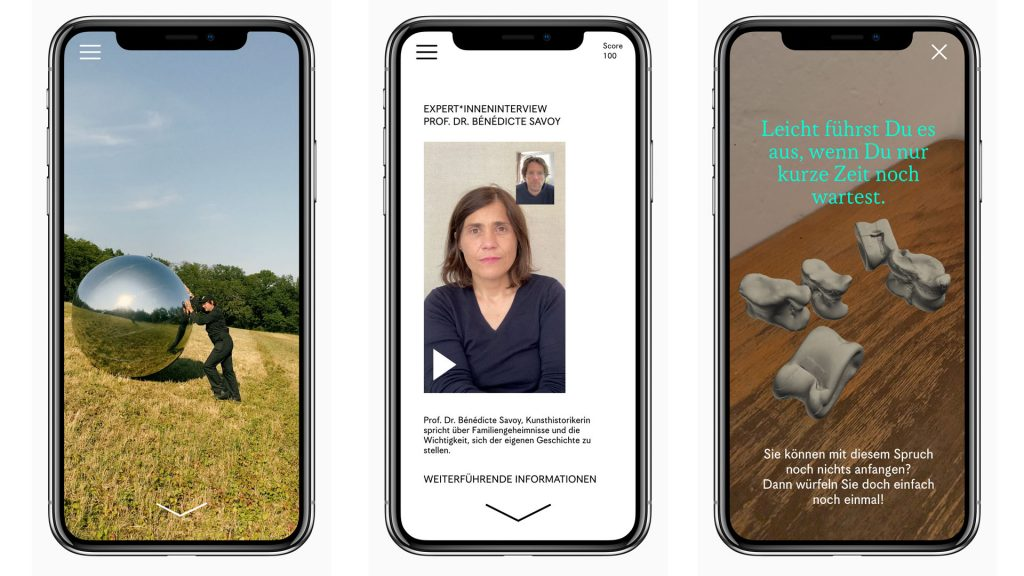 Drei Screenshots der App Folgenlosigkeit