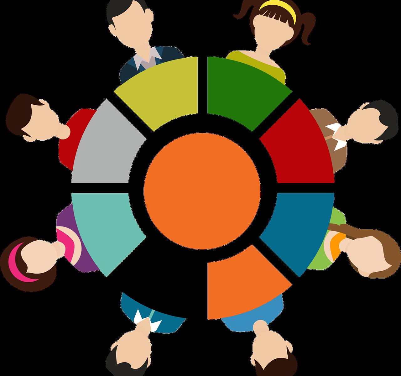 Grafik menschliche Gruppe im Kreis